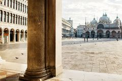 St. Marks Cathedral and square in Venice, doves and peolple.  Stock Images