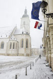 St. Marks' church in Zagreb, Croatia. During a snowstorm Royalty Free Stock Photos