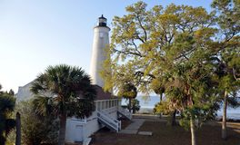 St Marks Florida Lighthouse 3. St Marks lighthouse from the front showing the front of the house stock photography