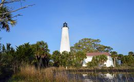 St Marks Florida Lighthouse 2. St Marks lighthouse from Florida shoreline with marsh in foreground stock images