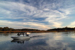 St. Marks River Boaters. Boaters return from a day of fishing on the St. Marks River on the Florida Gulf Coast, December 12, 2015 in St. Marks, Florida Stock Photo