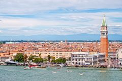 St Marks Square and the Grand Canal on a beautiful day In Venice Royalty Free Stock Photo
