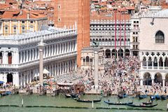 St Marks Square and the Grand Canal in the city of Venice Stock Images