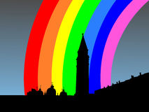 St Marks Square with rainbow Royalty Free Stock Image