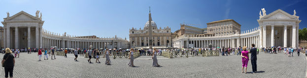 St Marks Square Vatican City. Rome Italy. Panoramic stitch of several images to encompass the whole square Stock Photo