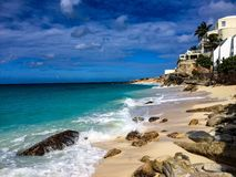 St Marteen island beach. Sunny weather in Caribbean island Royalty Free Stock Image