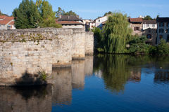 St. Martial bridge in Limoges. View on the St. Martial Bridge of Limoges in France Stock Photo