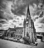 St Martin in the Bull Ring church in Birmingham, UK. Black and white Royalty Free Stock Images