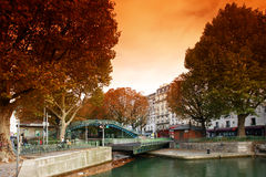 ST Martin canal lock in paris Royalty Free Stock Photo