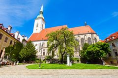 St. Martin Cathedral, Bratislava. The St. Martin Cathedral is a roman catholic church in Bratislava, Slovakia. St Martin Cathedral is the largest and one of the stock image