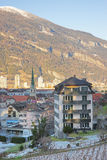 St Martin Church and Alps in Chur at sunrise Stock Images