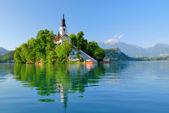 St Martin church and Bled lake Stock Photos
