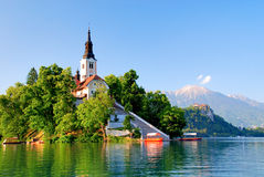 St Martin church and Bled lake Stock Image