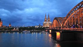 St. Martin Church, Cologne Cathedral and Hohenzollern Bridge. View on St. Martin Church, Cologne Cathedral and Hohenzollern Bridge, Cologne, Germany stock video footage