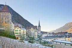 St Martin Church e vigna in Chur ad alba Immagine Stock Libera da Diritti