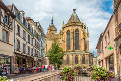 St Martin Church i Colmar Royaltyfria Foton