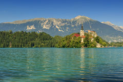 St Martin church on island,castle and mountains in background,Bl Royalty Free Stock Photos