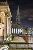 St Martin in the Fields from National Gallery. St Martin in the Fields, from the National Gallery, Trafalgar Square, London, England, UK, at night in winter Royalty Free Stock Photos