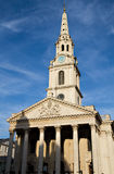 St. Martin in the fields under a blue sky. Trafalgar Square, London, England Royalty Free Stock Photo