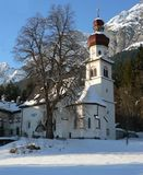 St.Martin, Gnadenwald im Winter. The church St.Martin in Tirol Stock Images