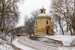 St. Martin rotunda on Vysehrad in winter time, Prague, Czech Republic stock photo
