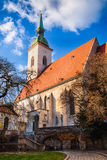 St. Martin `s cathedral in Bratislava on autumn sunny day stock photo