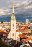 St. Martin's cathedral in Bratislava with stormy clouds in back royalty free stock photos
