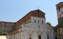 St. Martin`s Cathedral in Lucca, Italy stock photography