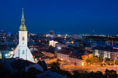 St. Martin's Cathedral at night in Bratislava Royalty Free Stock Photography