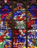 St. Martin. Stained glass in Votiv Kirche The Votive Church in Vienna, Austria Stock Image