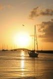 St. Martin Sunset. Sunset in Marigot, St. Martin stock photos