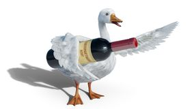 St. Martins goose holds wine bottle isolated on white - 3D render Stock Photo