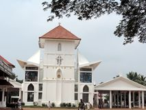Church in Kerala, India. St. Mary's Jacobite Syrian Cathedral, also known as Manarcad Marth Maryam Cathedral, is a Syrian Orthodox church located near stock images