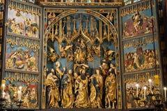 St Mary Altar a Cracovia Fotografia Stock