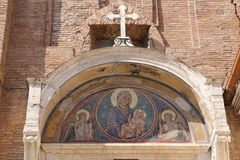 St. Mary of the Altar of Heaven. Front of the Basilica of St. Mary of the Altar of Heaven in Rome Stock Photo