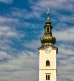 St Mary av Dolac det kyrkliga tornet, Zagreb Arkivfoton