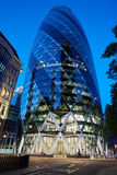 30 St Mary Axe building or Gherkin illuminated in London Royalty Free Stock Image
