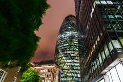 30 st Mary Axe a Londra, Regno Unito, alla notte Fotografie Stock