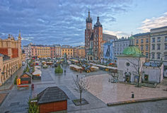 St Mary Basilica and Church of St Wojciech and Cloth Hall in the Royalty Free Stock Photography