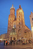 St Mary Basilica in the Main Market Square of the Old City in Krakow Stock Images
