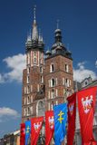 St. Mary basilica on the Market square of Krakow Royalty Free Stock Images