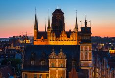 Free St. Mary Basilica Over The Old Town In Gdansk At Sunset, Poland Stock Photo - 158545860