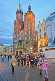St Mary Basilica and street market in the Main Market Square of Royalty Free Stock Image