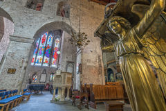 St Mary Cathedral interior. Golden angel figure inside of the Old St Mary Cathedral in Limerick, Ireland Royalty Free Stock Image