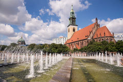 St. Mary Church, Berlin. Image showing the St. Mary Church and the fountain, Alexander Square in Berlin Royalty Free Stock Photos