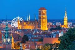 St Mary Church e câmara municipal em Gdansk, Polônia Fotos de Stock Royalty Free