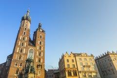 The St Mary church at the main market in Krakow. Royalty Free Stock Photo