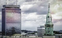 St. Mary church and modern hotel in Berlin royalty free stock images