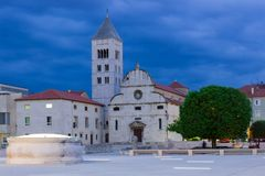 St Mary church and monastery at night. Zadar. Croatia. Royalty Free Stock Photography
