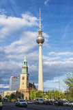 St Mary church and telecommunications tower in Berlin, Germany Royalty Free Stock Photo